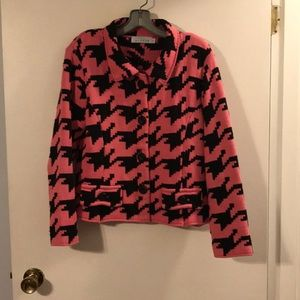 Willow hot pink/black houndstooth sweater